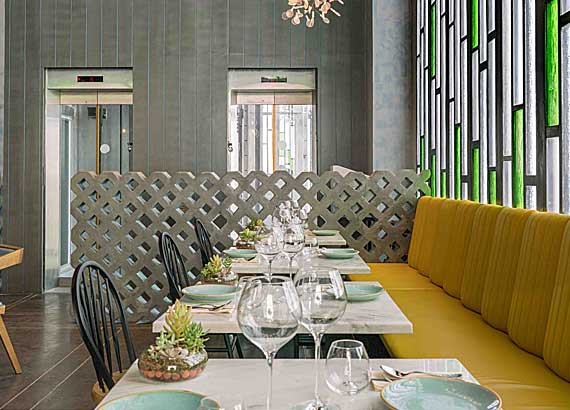Candy and green vegetarian restaurant interior design, Vegetarian hotel interior design, Mumbai's best hospitality interior design firm, Best Restaurant architects